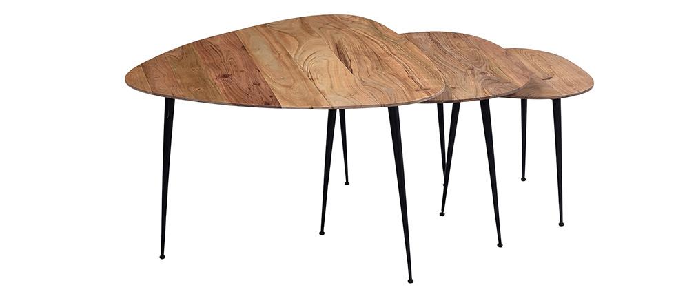 Verschachtelungstische aus massivem Akazienholz und Metall (3er-Satz) STONES