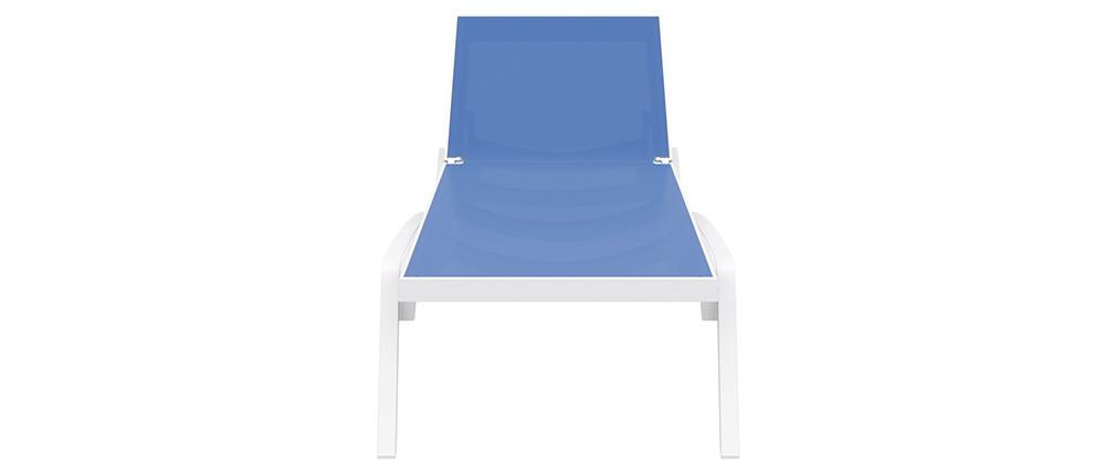 Verstellbare blaue Chaiselongue mit Rollen CORAIL