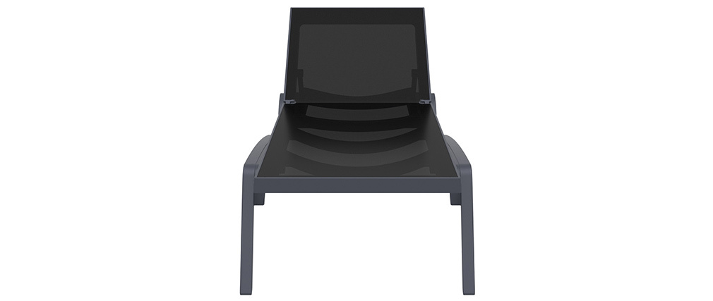 Verstellbare schwarze Chaiselongue mit Rollen CORAIL