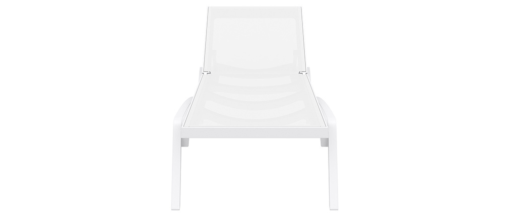 Verstellbare weiße Chaiselongue mit Rollen CORAIL