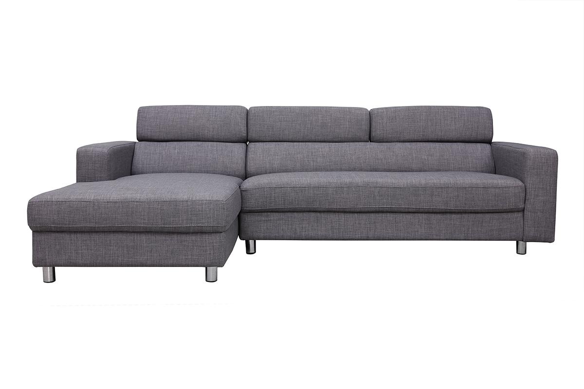Verstellbares Design-Ecksofa (Ecke links) PORTLAND Grau ...