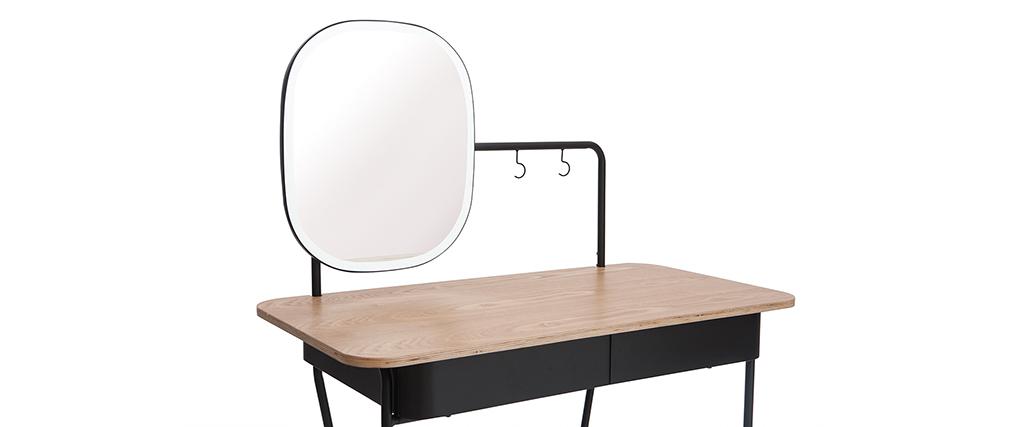 Vintage Frisiertisch mit Spiegel aus Metall und Esche CAVAL - Miliboo & Stéphane Plaza