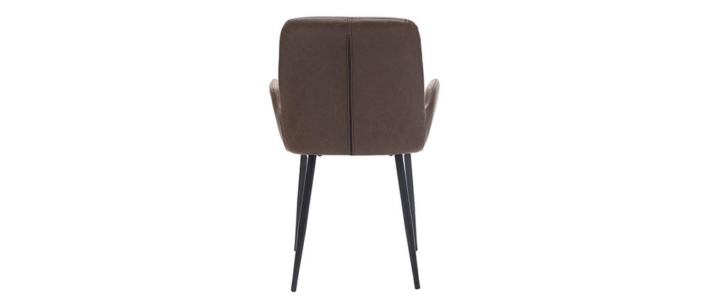 Vintage-Sessel Dunkelbraun mit schwarzen Metallbeinen (2er-Set) TIKA