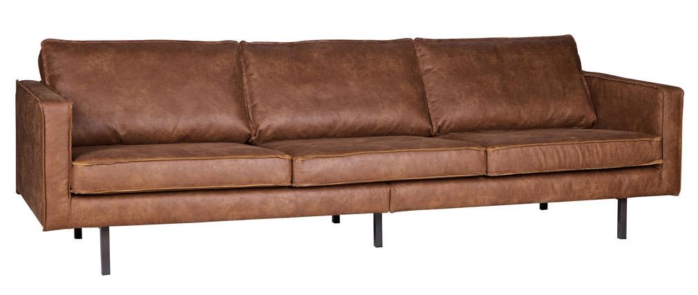 Vintage-Sofa Braunes Leder 3 Sitzplätze ASPEN - Kunstleder