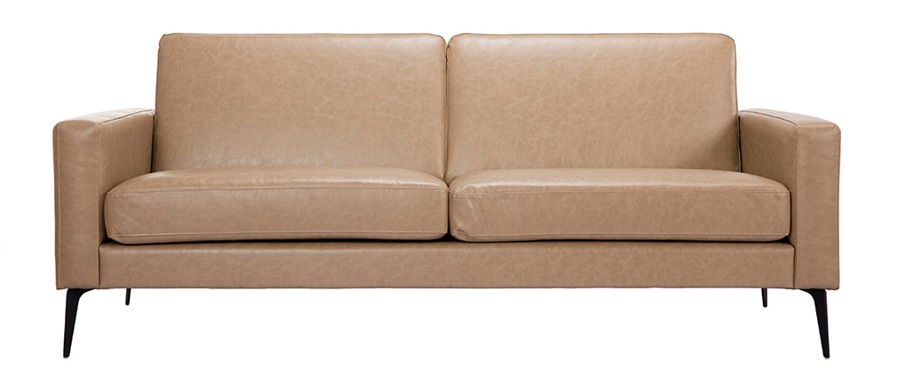 Vintage-Sofa camelfarben 3 Sitzplätze RICCI