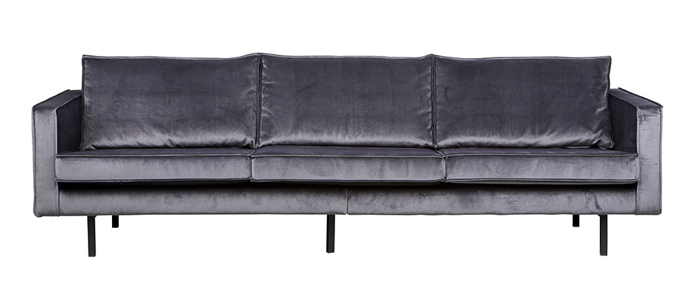 vintage sofa velours grau 4 sitzpl tze aspen miliboo. Black Bedroom Furniture Sets. Home Design Ideas