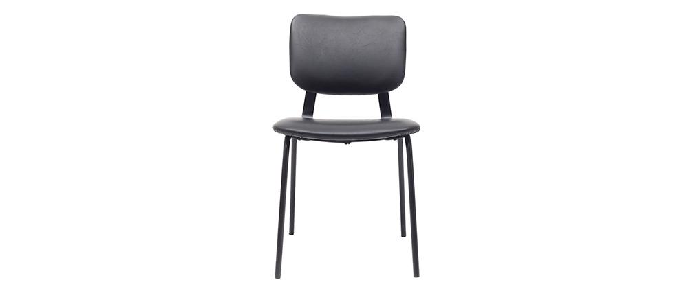 Vintage-Stühle Schwarz mit Metall-Beinen 2er-Set LAB