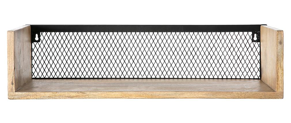Wandregal Industrie-Stil Mangoholz und Metall 60 cm RACK