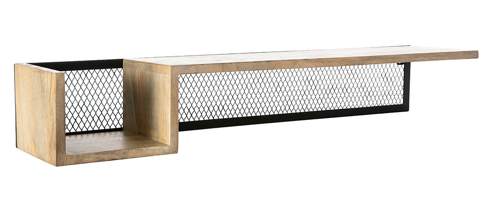 Wandregal Industrie-Stil Mangoholz und Metall 90 cm RACK
