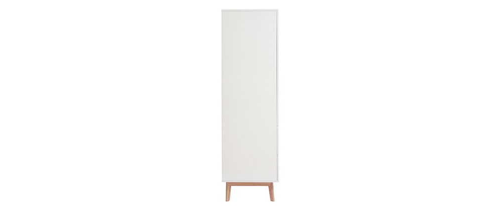 Wäscheschrank skandinavischer Stil, weiß und helles Holz KELMA