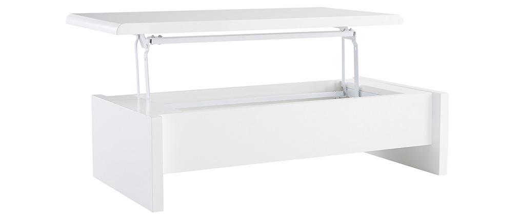 Weißer Design-Couchtisch LOLA, höhenverstellbar mit Stauraum