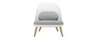 Weißer Design-Sessel LEAF mit Stoffpolster und Sesselbeinen aus hellem Holz