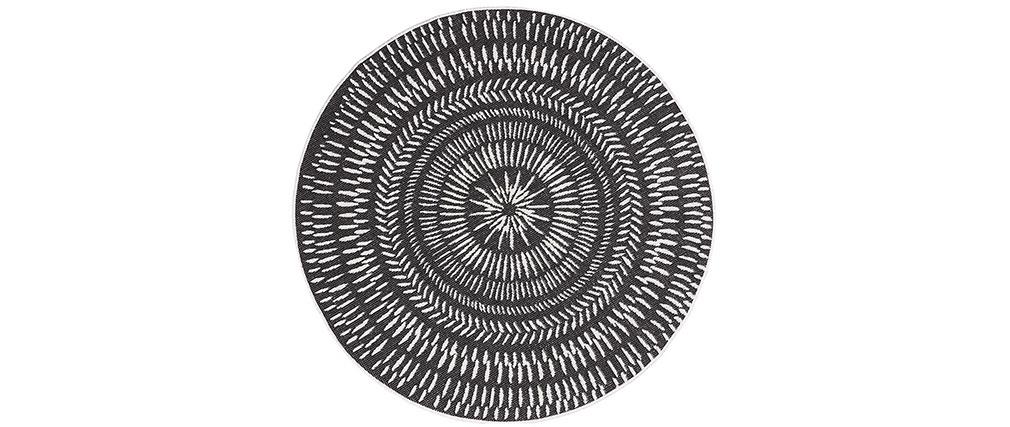 Wendeteppich rund für Innen und außen schwarz und weiß D160 cm ENYA