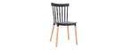 Zweifarbige Design-Stühle schwarz und Holz (2-er Satz) GAMBO