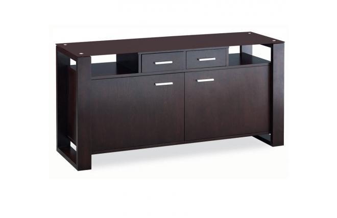 zweit riges sideboard layton eiche braunes glas farbe wenge miliboo. Black Bedroom Furniture Sets. Home Design Ideas